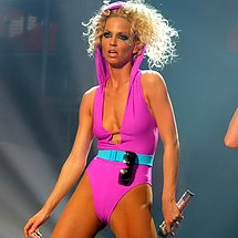 Sarah Harding pink stage tights camel toe